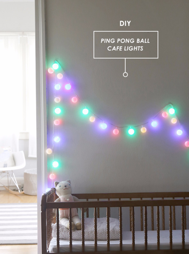 Cool Ways To Use Christmas Lights - DIY Ping Pong Ball Cafe Lights - Best Easy DIY Ideas for String Lights for Room Decoration, Home Decor and Creative DIY Bedroom Lighting - Creative Christmas Light Tutorials with Step by Step Instructions - Creative Crafts and DIY Projects for Teens and Adults http://diyjoy.com/cool-ways-to-use-christmas-lights