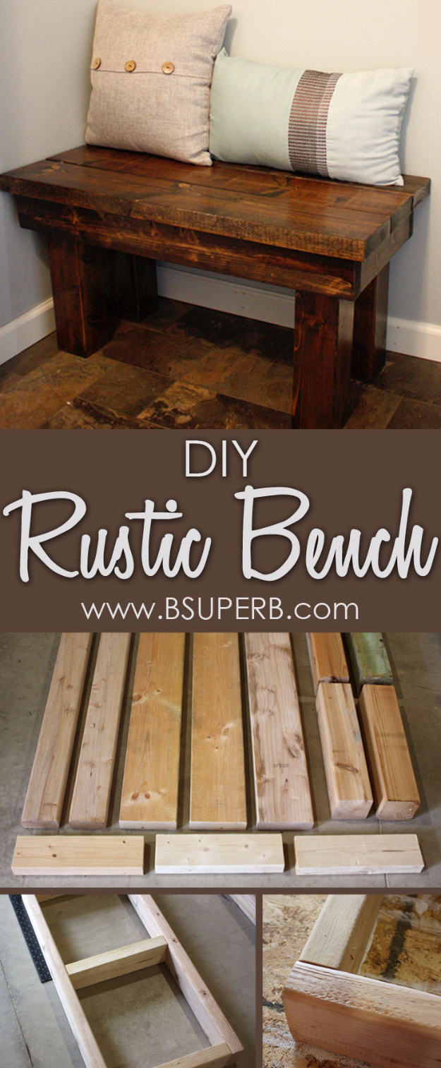 DIY Farmhouse Style Decor Ideas for the Bedroom - DIY Rustic Bedroom Bench - Rustic Farm House Ideas for Furniture, Paint Colors, Farm House Decoration for Home Decor in The Bedroom - Wall Art, Rugs, Nightstands, Lights and Room Accessories http://diyjoy.com/diy-farmhouse-decor-bedroom