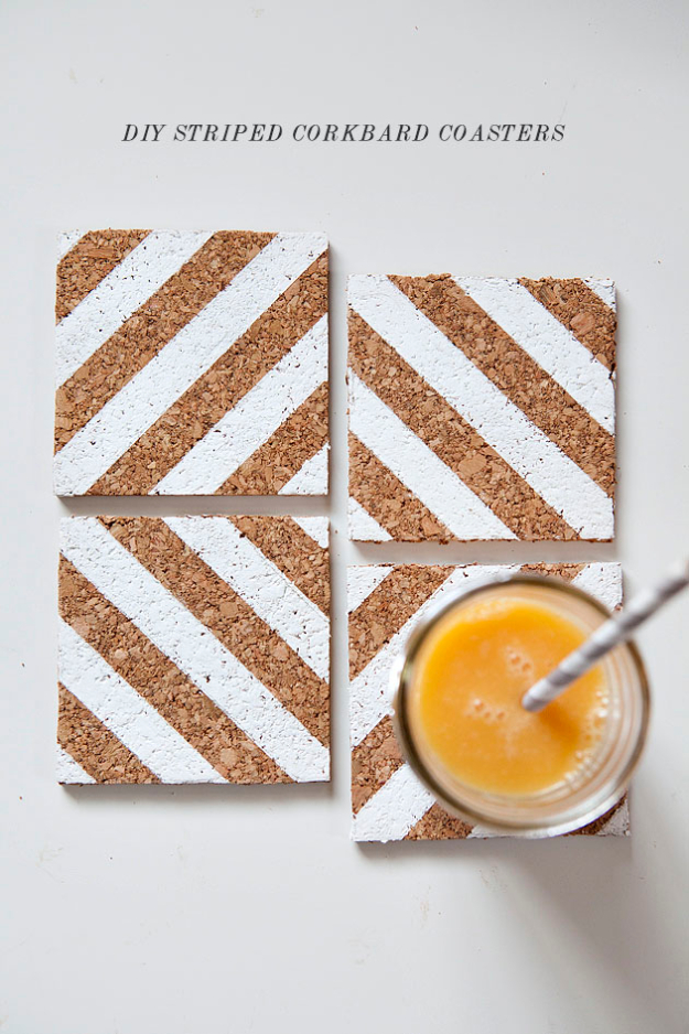 Best DIY Gifts for Neighbors - DIY Striped Corkboard Coasters - Cute Mason Jar Crafts, Gift Baskets and Cheap and Easy Gift Ideas to Make for Friends - Do It Yourself Projects You Can Sew and Craft That Make Awesome DIY Gifts and Homemade Christmas Presents http://diyjoy.com/diy-gifts-friends-neighbors