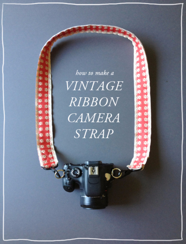 DIY Gift for the Office - DIY Vintage Ribbon Camera Strap - DIY Gift Ideas for Your Boss and Coworkers - Cheap and Quick Presents to Make for Office Parties, Secret Santa Gifts - Cool Mason Jar Ideas, Creative Gift Baskets and Easy Office Christmas Presents http://diyjoy.com/diy-gifts-office