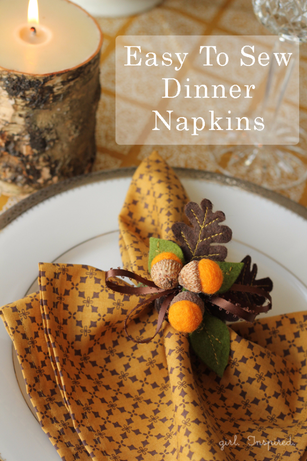 DIY Sewing Projects for the Kitchen - Dinner Napkins - Easy Sewing Tutorials and Patterns for Towels, napkinds, aprons and cool Christmas gifts for friends and family - Rustic, Modern and Creative Home Decor Ideas http://diyjoy.com/diy-sewing-projects-kitchen
