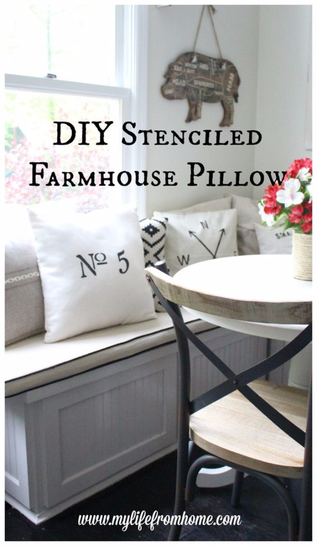 DIY Farmhouse Style Decor Ideas for the Bedroom - Farmhouse Stenciled Pillow - Rustic Farm House Ideas for Furniture, Paint Colors, Farm House Decoration for Home Decor in The Bedroom - Wall Art, Rugs, Nightstands, Lights and Room Accessories http://diyjoy.com/diy-farmhouse-decor-bedroom