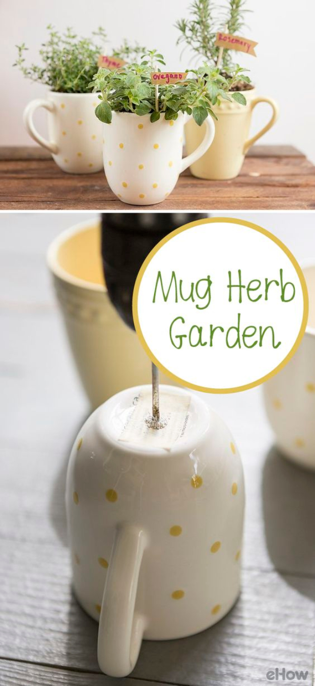 DIY Housewarming Gifts - Mug Herb Garden- Best Do It Yourself Gift Ideas for Friends With A New House, Home or Apartment - Creative, Cheap and Quick Crafts and DIY Ideas for Housewarming Presents - Mason Jar Gifts, Baskets, Gifts for Women and Men http://diyjoy.com/diy-housewarming-gifts