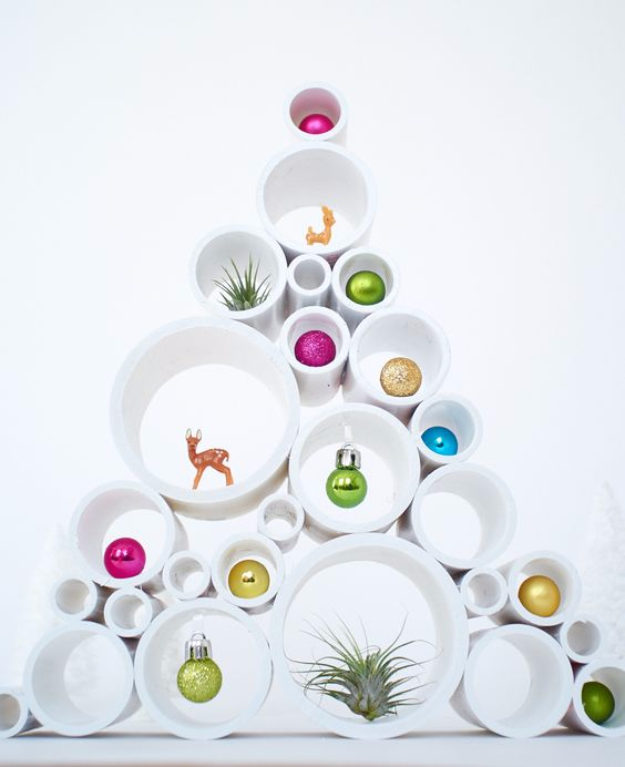 Best DIY Ideas for Your Christmas Tree - PVC Pipe Small Scale Christmas Tree - Cool Handmade Ornaments, DIY Decorating Ideas and Ornament Tutorials - Cheap Christmas Home Decor - Xmas Crafts #christmas #diy #crafts