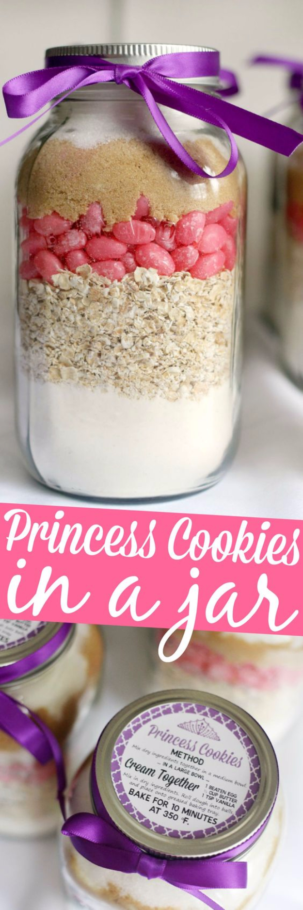 Best Mason Jar Cookies - Princess Cookies In A Jar - Mason Jar Cookie Recipe Mix for Cute Decorated DIY Gifts - Easy Chocolate Chip Recipes, Christmas Presents and Wedding Favors in Mason Jars - Fun Ideas for DIY Parties and Cheap LAst Mintue Gift Ideas for Friends, Family and Neighbors http://diyjoy.com/best-mason-jar-cookie-recipes