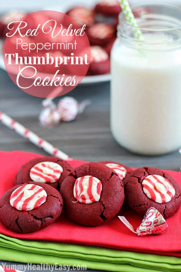 Best Recipes for Christmas Cookies- Red Velvet Peppermint Thumbprint Cookies - Easy Decorated Holiday Cookies - Candy Cookie Recipes Ideas for Kids - Traditional Favorites and Gluten Free and Healthy Versions - Quick No Bake Cookies and Last Minute Desserts for the Holidays http://diyjoy.com/best-christmas-cookie-recipes