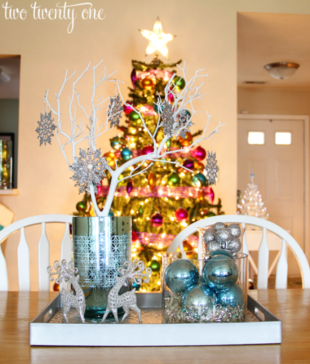 DIY Christmas Centerpieces - Silver And Blue Christmas Centerpiece - Simple, Easy Holiday Decorating Ideas on A Budget - Cheap Home and Table Decor for The Holidays - Dollar Store Crafts, Rustic Candles, Pine Cones, Floral Ideas and Mason Jar Craft Projects http://diyjoy.com/diy-christmas-centerpieces