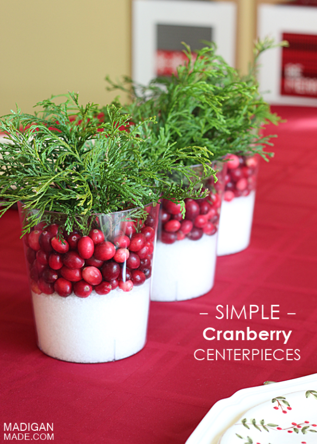 DIY Christmas Centerpieces - Simple Cranberry Centerpieces - Simple, Easy Holiday Decorating Ideas on A Budget - Cheap Home and Table Decor for The Holidays - Dollar Store Crafts, Rustic Candles, Pine Cones, Floral Ideas and Mason Jar Craft Projects http://diyjoy.com/diy-christmas-centerpieces