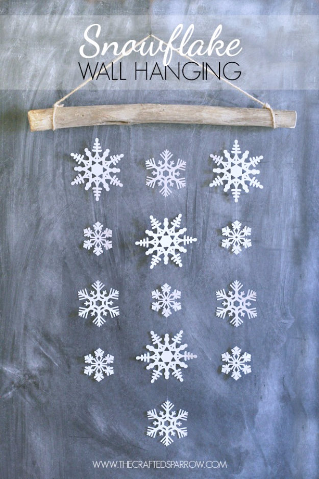 Best DIY Snowflake Decorations, Ornaments and Crafts - Snowflake Wall Hanging - Paper Crafts with Snowflakes, Pipe Cleaner Projects, Mason Jars and Dollar Store Ideas - Easy DIY Ideas to Decorate for Winter - Creative Home Decor and Room Decorations for Adults, Teens and Kids http://diyjoy.com/diy-projects-snowflakes