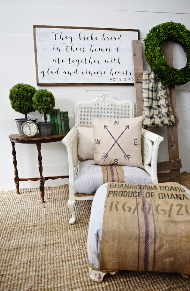 DIY Farmhouse Style Decor Ideas for the Bedroom - Striped Grain Sack Chair Makeover - Rustic Farm House Ideas for Furniture, Paint Colors, Farm House Decoration for Home Decor in The Bedroom - Wall Art, Rugs, Nightstands, Lights and Room Accessories http://diyjoy.com/diy-farmhouse-decor-bedroom