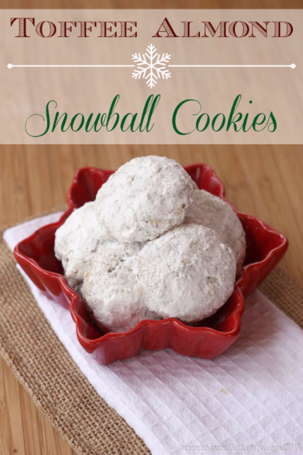 Best Recipes for Christmas Cookies- Toffee Almond Snowball Cookies - Easy Decorated Holiday Cookies - Candy Cookie Recipes Ideas for Kids - Traditional Favorites and Gluten Free and Healthy Versions - Quick No Bake Cookies and Last Minute Desserts for the Holidays http://diyjoy.com/best-christmas-cookie-recipes