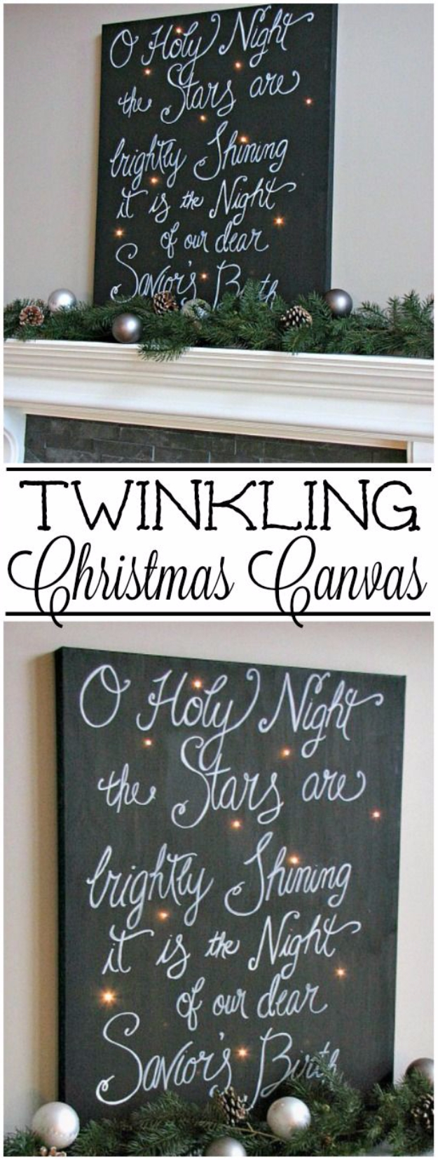 Cool Ways To Use Christmas Lights - Twinkling Christmas Canvas Art - Best Easy DIY Ideas for String Lights for Room Decoration, Home Decor and Creative DIY Bedroom Lighting - Creative Christmas Light Tutorials with Step by Step Instructions - Creative Crafts and DIY Projects for Teens and Adults http://diyjoy.com/cool-ways-to-use-christmas-lights