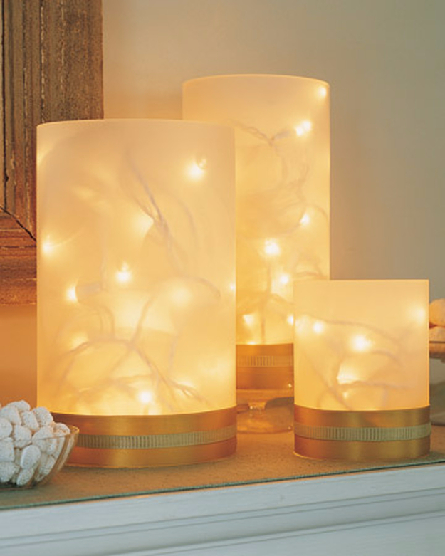 Cool Ways To Use Christmas Lights - Twinkling Vases - Best Easy DIY Ideas for String Lights for Room Decoration, Home Decor and Creative DIY Bedroom Lighting - Creative Christmas Light Tutorials with Step by Step Instructions - Creative Crafts and DIY Projects for Teens and Adults http://diyjoy.com/cool-ways-to-use-christmas-lights