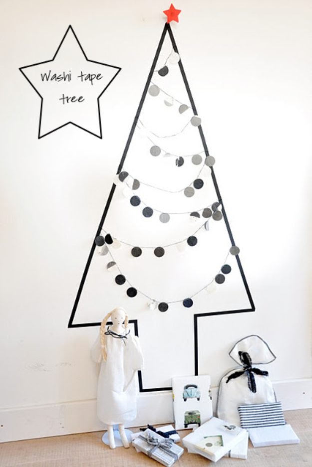 Best DIY Ideas for Your Christmas Tree - Washi Tape Tree - Cool Handmade Ornaments, DIY Decorating Ideas and Ornament Tutorials - Cheap Christmas Home Decor - Xmas Crafts #christmas #diy #crafts