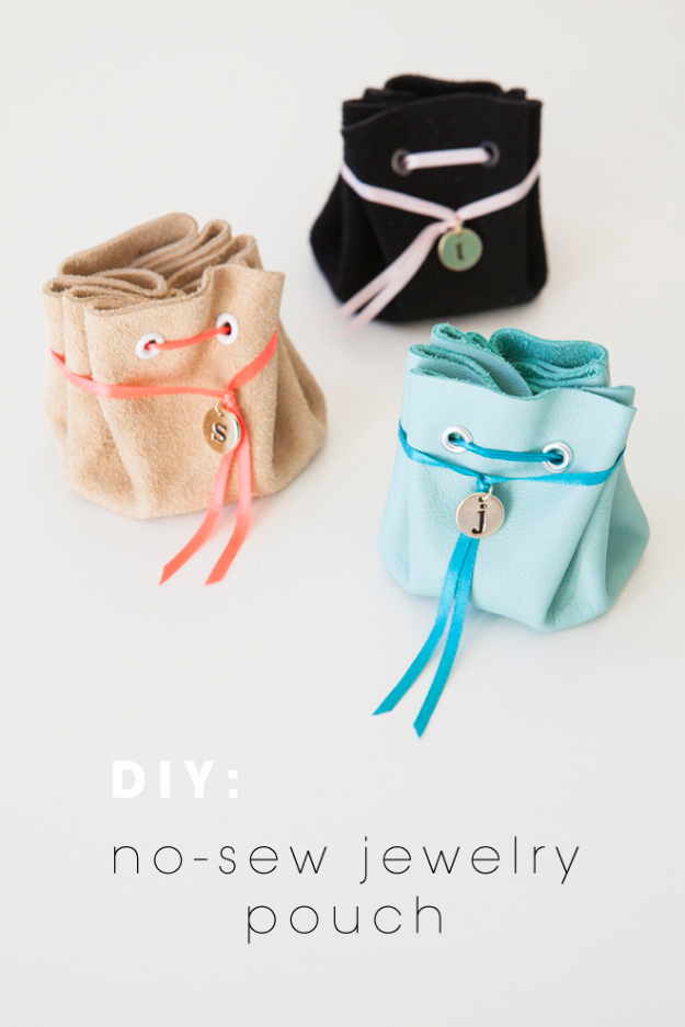 Creative Leather Crafts - DIY No Sew Leather Jewelry Pouch - Best DIY Projects Made With Leather - Easy Handmade Do It Yourself Gifts and Fashion - Cool Crafts and DYI Leather Projects With Step by Step Tutorials http://diyjoy.com/diy-leather-crafts
