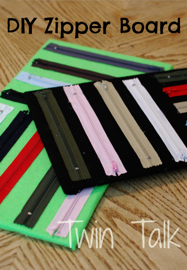 Creative DIY Projects With Zippers - DIY Zipper Board - Easy Crafts and Fashion Ideas With A Zipper - Jewelry, Home Decor, School Supplies and DIY Gift Ideas - Quick DIYs for Fun Weekend Projects http://diyjoy.com/diy-projects-zippers