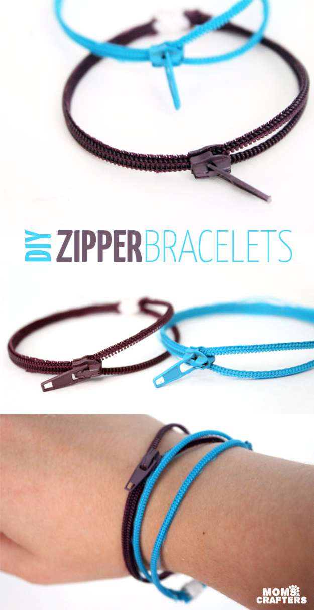 Creative DIY Projects With Zippers - Easy DIY Zipper Bracelets - Easy Crafts and Fashion Ideas With A Zipper - Jewelry, Home Decor, School Supplies and DIY Gift Ideas - Quick DIYs for Fun Weekend Projects http://diyjoy.com/diy-projects-zippers