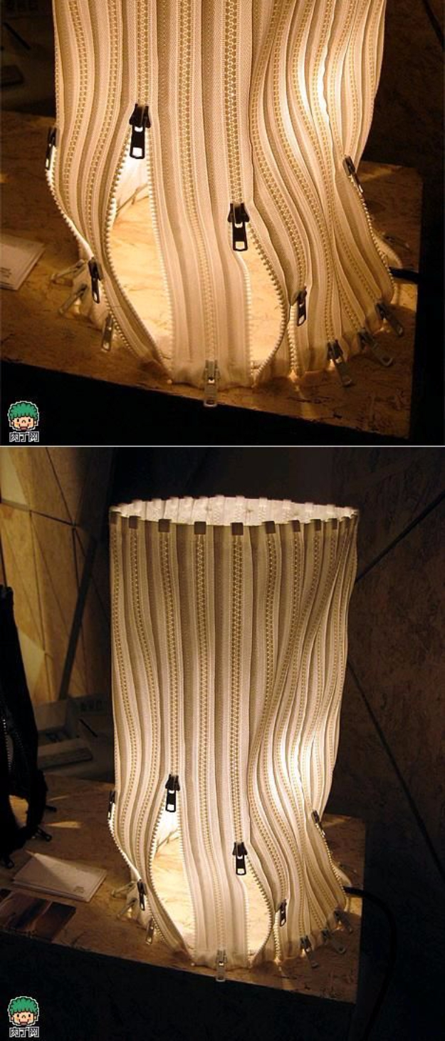 Creative DIY Projects With Zippers - DIY Zipper Lampshade - Easy Crafts and Fashion Ideas With A Zipper - Jewelry, Home Decor, School Supplies and DIY Gift Ideas - Quick DIYs for Fun Weekend Projects http://diyjoy.com/diy-projects-zippers