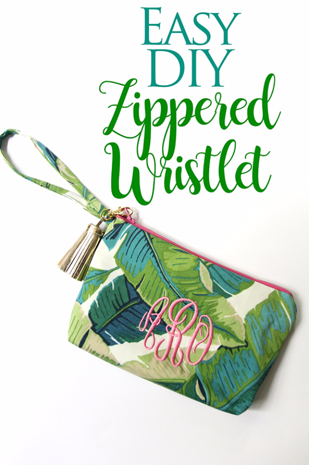 Creative DIY Projects With Zippers - Easy DIY Zippered Wristlet - Easy Crafts and Fashion Ideas With A Zipper - Jewelry, Home Decor, School Supplies and DIY Gift Ideas - Quick DIYs for Fun Weekend Projects http://diyjoy.com/diy-projects-zippers