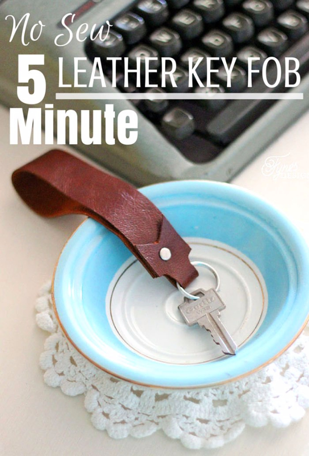Creative Leather Crafts - No Sew Leather Key Fob - Best DIY Projects Made With Leather - Easy Handmade Do It Yourself Gifts and Fashion - Cool Crafts and DYI Leather Projects With Step by Step Tutorials http://diyjoy.com/diy-leather-crafts