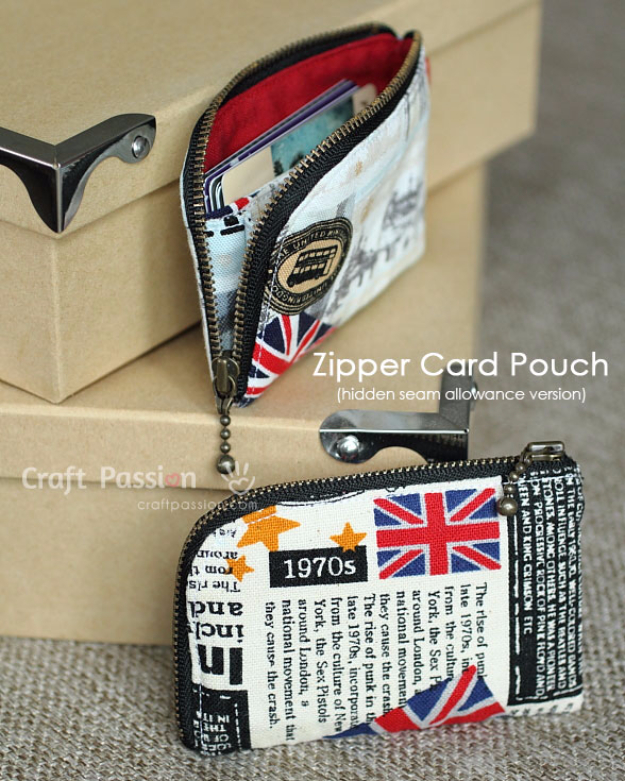 Creative DIY Projects With Zippers - Zipper Card Pouch - Easy Crafts and Fashion Ideas With A Zipper - Jewelry, Home Decor, School Supplies and DIY Gift Ideas - Quick DIYs for Fun Weekend Projects http://diyjoy.com/diy-projects-zippers