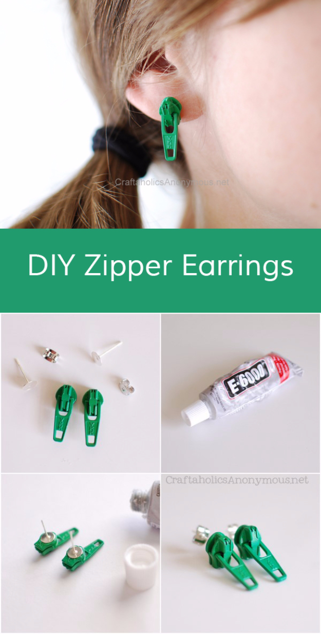 Creative DIY Projects With Zippers - Zipper Earrings - Easy Crafts and Fashion Ideas With A Zipper - Jewelry, Home Decor, School Supplies and DIY Gift Ideas - Quick DIYs for Fun Weekend Projects http://diyjoy.com/diy-projects-zippers
