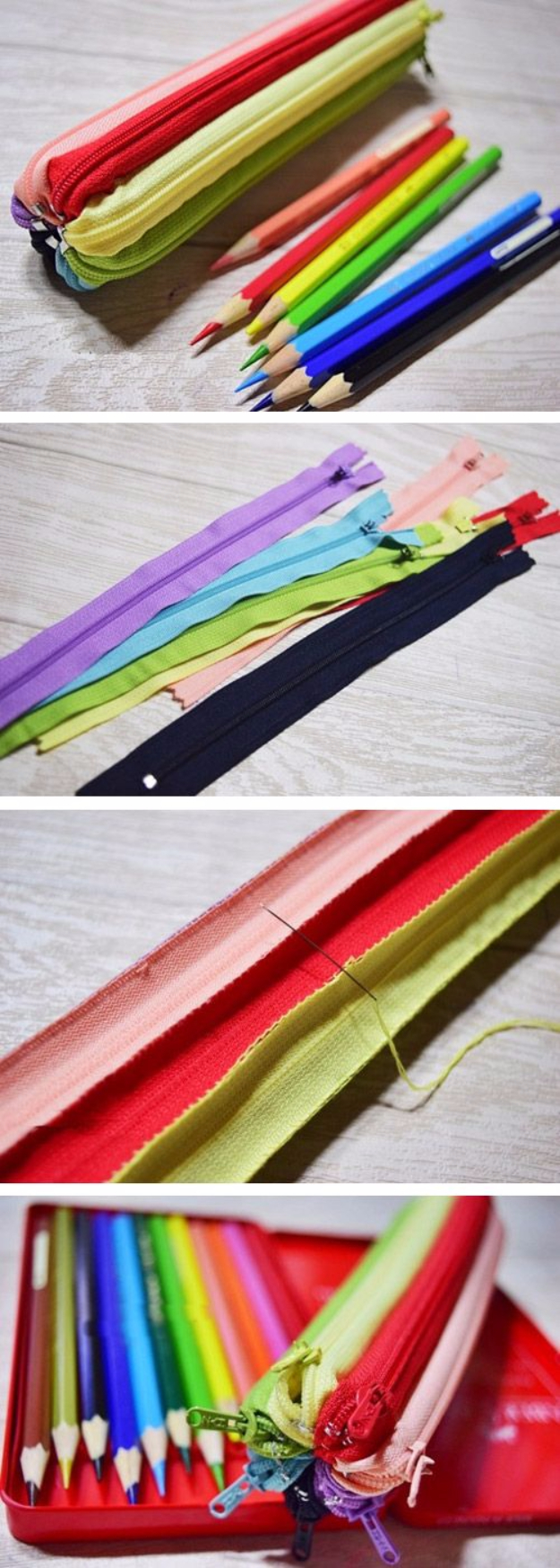 Creative DIY Projects With Zippers - Zipper Pencil Case - Easy Crafts and Fashion Ideas With A Zipper - Jewelry, Home Decor, School Supplies and DIY Gift Ideas - Quick DIYs for Fun Weekend Projects http://diyjoy.com/diy-projects-zippers