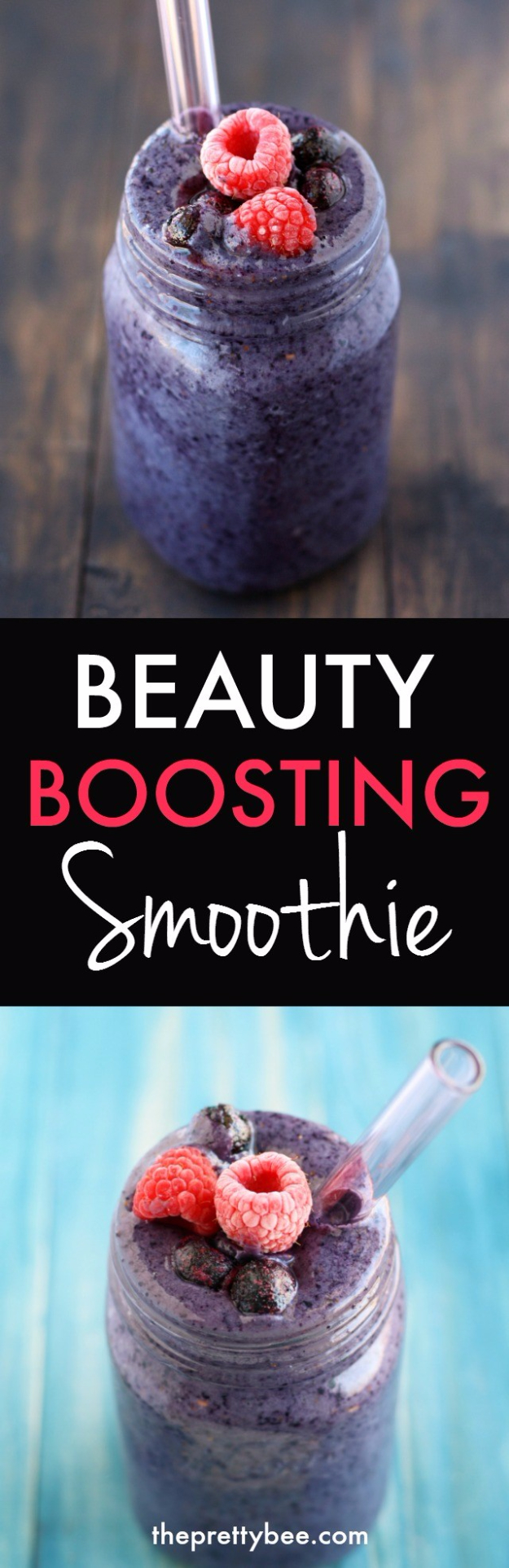 Healthy Smoothie Recipes - Beauty Boosting Smootihie - Easy ideas perfect for breakfast, energy. Low calorie and high protein recipes for weightloss and to lose weight. Simple homemade recipe ideas that kids love. Quick EASY morning recipes before work and school, after workout http://diyjoy.com/healthy-smoothie-recipes