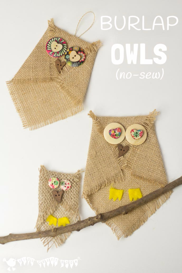 DIY Projects and Crafts Made With Buttons - Burlap And Button Owls - Easy and Quick Projects You Can Make With Buttons - Cool and Creative Crafts, Sewing Ideas and Homemade Gifts for Women, Teens, Kids and Friends - Home Decor, Fashion and Cheap, Inexpensive Fun Things to Make on A Budget http://diyjoy.com/diy-projects-buttons