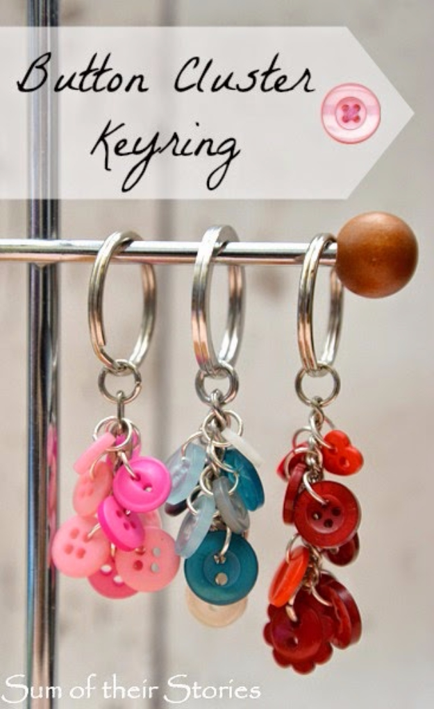 DIY Projects and Crafts Made With Buttons - Button Cluster Key Ring - Easy and Quick Projects You Can Make With Buttons - Cool and Creative Crafts, Sewing Ideas and Homemade Gifts for Women, Teens, Kids and Friends - Home Decor, Fashion and Cheap, Inexpensive Fun Things to Make on A Budget http://diyjoy.com/diy-projects-buttons