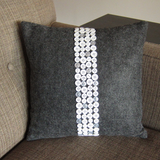 DIY Projects and Crafts Made With Buttons - Button Pillow - Easy and Quick Projects You Can Make With Buttons - Cool and Creative Crafts, Sewing Ideas and Homemade Gifts for Women, Teens, Kids and Friends - Home Decor, Fashion and Cheap, Inexpensive Fun Things to Make on A Budget http://diyjoy.com/diy-projects-buttons