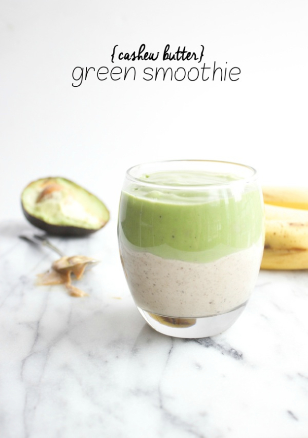 Healthy Smoothie Recipes - Cashew Butter Green Smoothie - Easy ideas perfect for breakfast, energy. Low calorie and high protein recipes for weightloss and to lose weight. Simple homemade recipe ideas that kids love. Quick EASY morning recipes before work and school, after workout http://diyjoy.com/healthy-smoothie-recipes