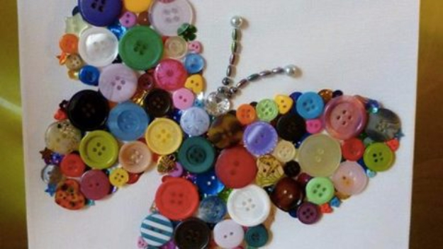 DIY Projects and Crafts Made With Buttons - DIY Button Butterfly Art - Easy and Quick Projects You Can Make With Buttons - Cool and Creative Crafts, Sewing Ideas and Homemade Gifts for Women, Teens, Kids and Friends - Home Decor, Fashion and Cheap, Inexpensive Fun Things to Make on A Budget http://diyjoy.com/diy-projects-buttons