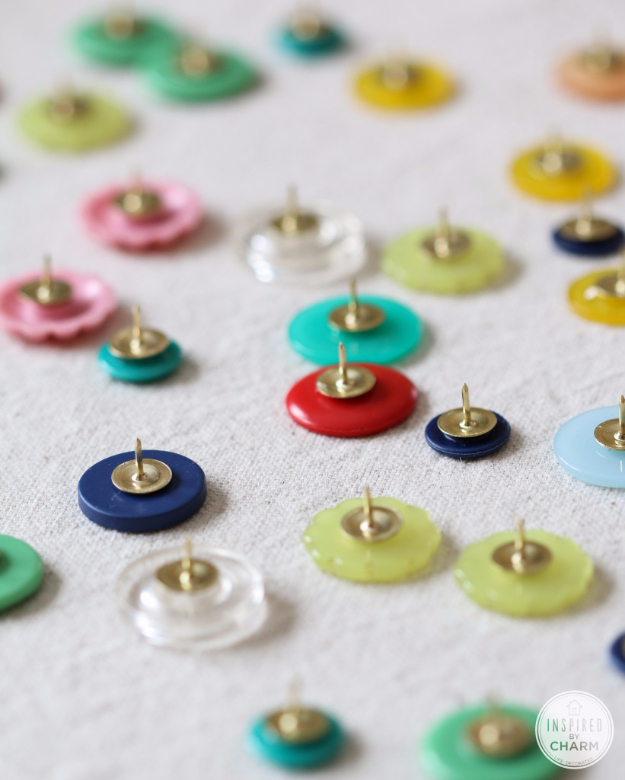 DIY Projects and Crafts Made With Buttons - DIY Button Thumb Tacks - Easy and Quick Projects You Can Make With Buttons - Cool and Creative Crafts, Sewing Ideas and Homemade Gifts for Women, Teens, Kids and Friends - Home Decor, Fashion and Cheap, Inexpensive Fun Things to Make on A Budget http://diyjoy.com/diy-projects-buttons