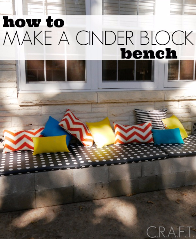 DIY Ideas for the Outdoors - DIY Cinder Block Bench - Best Do It Yourself Ideas for Yard Projects, Camping, Patio and Spending Time in Garden and Outdoors - Step by Step Tutorials and Project Ideas for Backyard Fun, Cooking and Seating http://diyjoy.com/diy-ideas-outdoors
