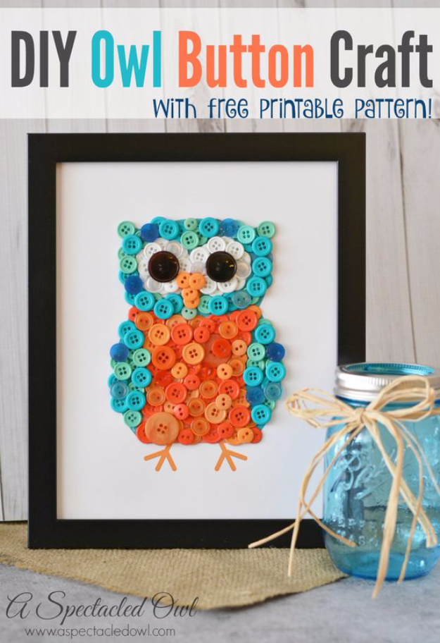 DIY Projects and Crafts Made With Buttons - DIY Owl Button Craft - Easy and Quick Projects You Can Make With Buttons - Cool and Creative Crafts, Sewing Ideas and Homemade Gifts for Women, Teens, Kids and Friends - Home Decor, Fashion and Cheap, Inexpensive Fun Things to Make on A Budget http://diyjoy.com/diy-projects-buttons