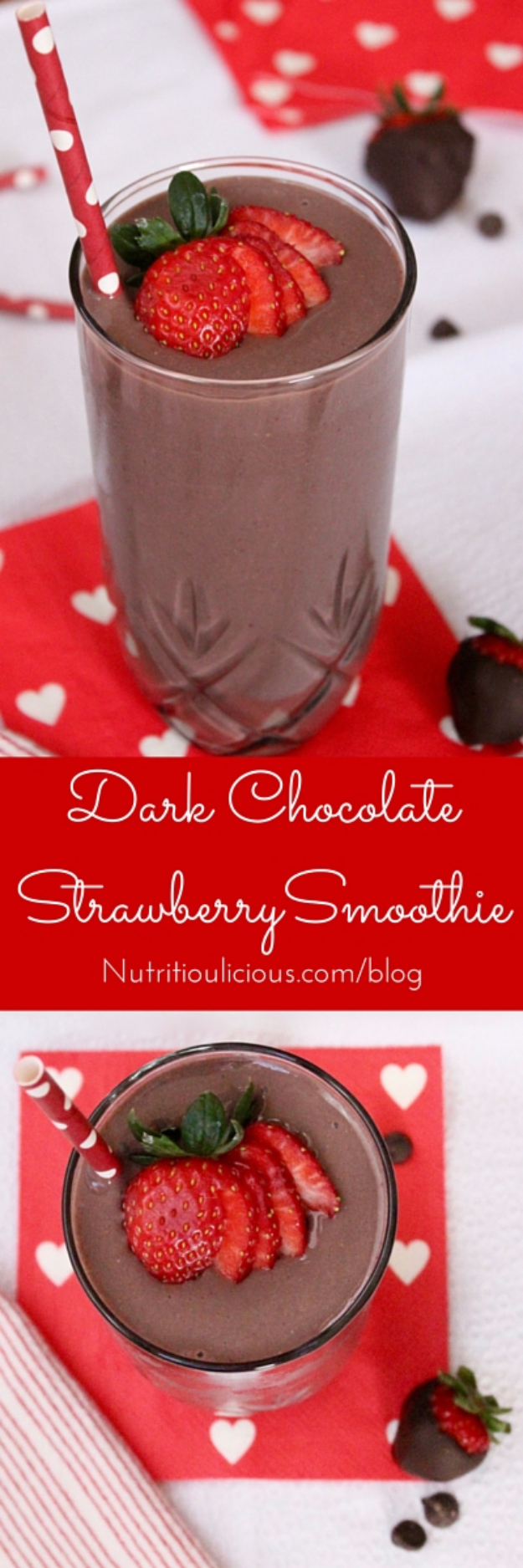Healthy Smoothie Recipes - Dark Chocolate Strawberry Smoothie - Easy ideas perfect for breakfast, energy. Low calorie and high protein recipes for weightloss and to lose weight. Simple homemade recipe ideas that kids love. Quick EASY morning recipes before work and school, after workout http://diyjoy.com/healthy-smoothie-recipes