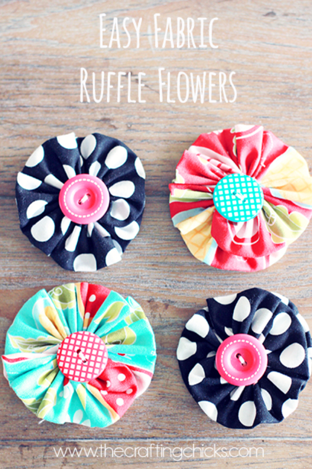 DIY Projects and Crafts Made With Buttons - Easy Fabric Ruffle Flowers - Easy and Quick Projects You Can Make With Buttons - Cool and Creative Crafts, Sewing Ideas and Homemade Gifts for Women, Teens, Kids and Friends - Home Decor, Fashion and Cheap, Inexpensive Fun Things to Make on A Budget http://diyjoy.com/diy-projects-buttons