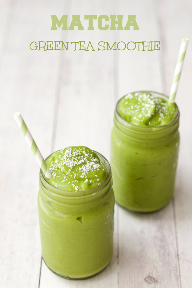 Healthy Smoothie Recipes - Matcha Green Tea Smoothie - Easy ideas perfect for breakfast, energy. Low calorie and high protein recipes for weightloss and to lose weight. Simple homemade recipe ideas that kids love. Quick EASY morning recipes before work and school, after workout http://diyjoy.com/healthy-smoothie-recipes