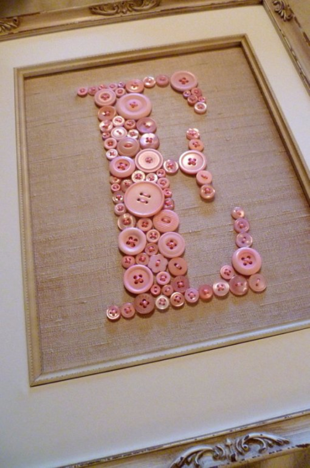 DIY Projects and Crafts Made With Buttons - Monogram Button Wall Art - Easy and Quick Projects You Can Make With Buttons - Cool and Creative Crafts, Sewing Ideas and Homemade Gifts for Women, Teens, Kids and Friends - Home Decor, Fashion and Cheap, Inexpensive Fun Things to Make on A Budget http://diyjoy.com/diy-projects-buttons