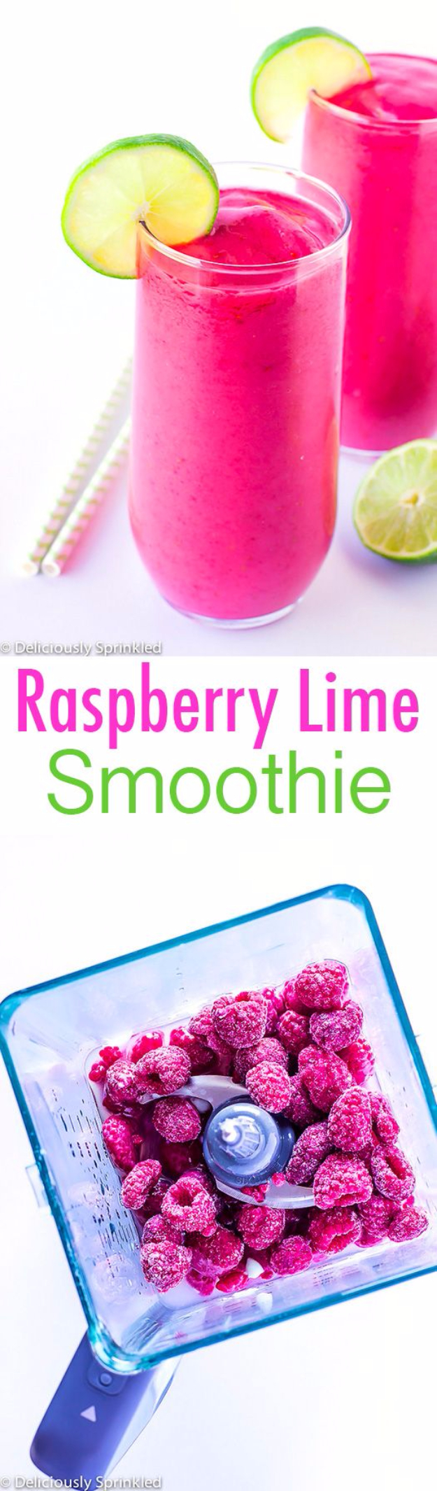 Healthy Smoothie Recipes - Raspberry Lime Smoothie - Easy ideas perfect for breakfast, energy. Low calorie and high protein recipes for weightloss and to lose weight. Simple homemade recipe ideas that kids love. Quick EASY morning recipes before work and school, after workout http://diyjoy.com/healthy-smoothie-recipes