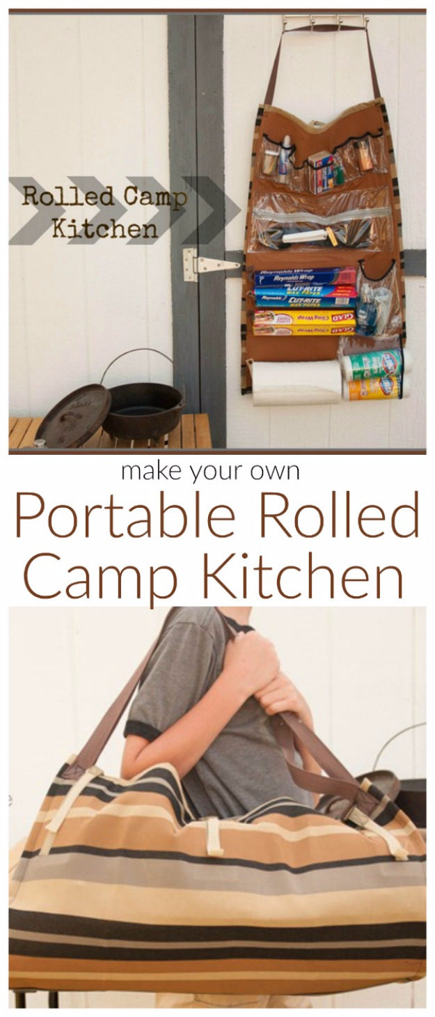 DIY Camping Hacks - Rolled Camp Kitchen - Easy Tips and Tricks, Recipes for Camping - Gear Ideas, Cheap Camping Supplies, Tutorials for Making Quick Camping Food, Fire Starters, Gear Holders and More http://diyjoy.com/diy-camping-hacks