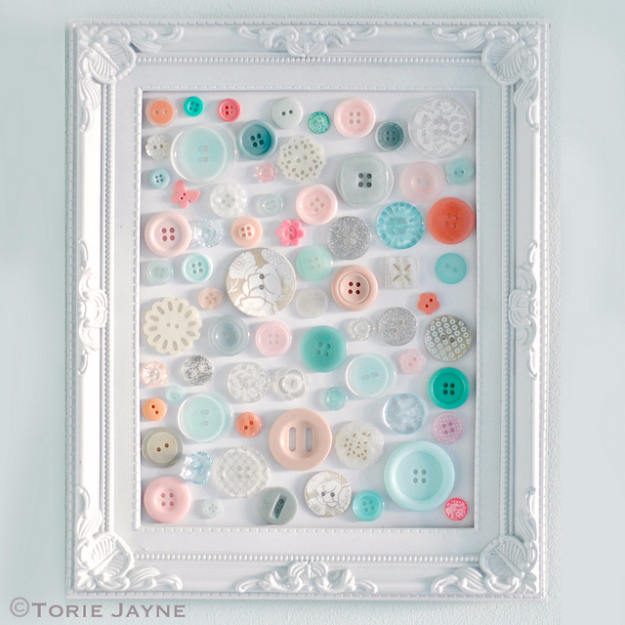DIY Projects and Crafts Made With Buttons - Simple Button Art - Easy and Quick Projects You Can Make With Buttons - Cool and Creative Crafts, Sewing Ideas and Homemade Gifts for Women, Teens, Kids and Friends - Home Decor, Fashion and Cheap, Inexpensive Fun Things to Make on A Budget http://diyjoy.com/diy-projects-buttons