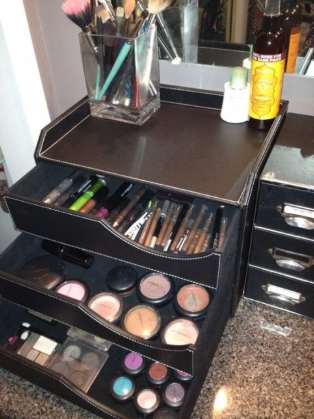 Best Organizing Ideas for the New Year - Store Your Makeup in a Desk Organizer - Resolutions for Getting Organized - DIY Organizing Projects for Home, Bedroom, Closet, Bath and Kitchen - Easy Ways to Organize Shoes, Clutter, Desk and Closets - DIY Projects and Crafts for Women and Men http://diyjoy.com/best-organizing-ideas