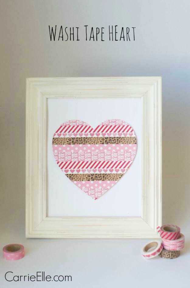 DIY Valentine Decor Ideas - Washi Tape Heart - Cute and Easy Home Decor Projects for Valentines Day Decorating - Best Homemade Valentine Decorations for Home, Tables and Party, Kids and Outdoor - Romantic Vintage Ideas - Cheap Dollar Store and Dollar Tree Crafts http://diyjoy.com/easy-valentine-decorations