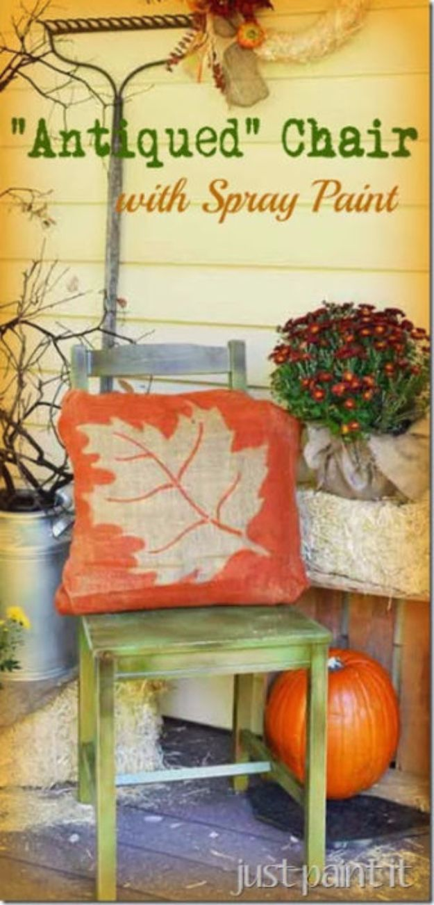 Spray Painting Tips and Tricks - Antiqued Chair with Spray Paint - Home Improvement Ideas and Tutorials for Spray Painting Furniture, House, Doors, Trim, Windows and Walls - Step by Step Tutorials and Best How To Instructions - DIY Projects and Crafts by DIY JOY http://diyjoy.com/spray-painting-tips-tricks
