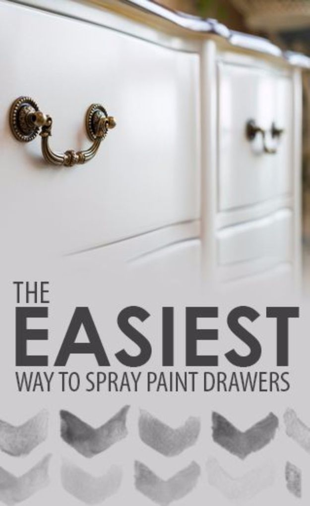 Spray Painting Tips and Tricks - Easiest Way To Spray Paint Drawers - Home Improvement Ideas and Tutorials for Spray Painting Furniture, House, Doors, Trim, Windows and Walls - Step by Step Tutorials and Best How To Instructions - DIY Projects and Crafts by DIY JOY http://diyjoy.com/spray-painting-tips-tricks