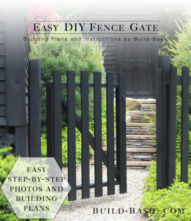 DIY Fences and Gates - Easy DIY Fence Gate - How To Make Easy Fence and Gate Project for Backyard and Home - Step by Step Tutorial and Ideas for Painting, Updating and Making Fences and DIY Gate - Cool Outdoors and Yard Projects http://diyjoy.com/diy-fences-gates