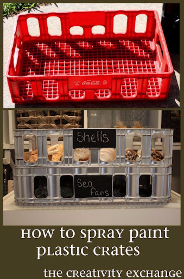 Spray Painting Tips and Tricks - Plastic Crate Revamp - Home Improvement Ideas and Tutorials for Spray Painting Furniture, House, Doors, Trim, Windows and Walls - Step by Step Tutorials and Best How To Instructions - DIY Projects and Crafts by DIY JOY http://diyjoy.com/spray-painting-tips-tricks