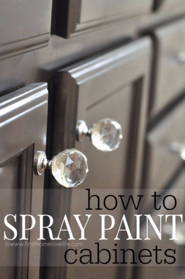 Spray Painting Tips and Tricks - Spray Painting Cabinets - Home Improvement Ideas and Tutorials for Spray Painting Furniture, House, Doors, Trim, Windows and Walls - Step by Step Tutorials and Best How To Instructions - DIY Projects and Crafts by DIY JOY http://diyjoy.com/spray-painting-tips-tricks